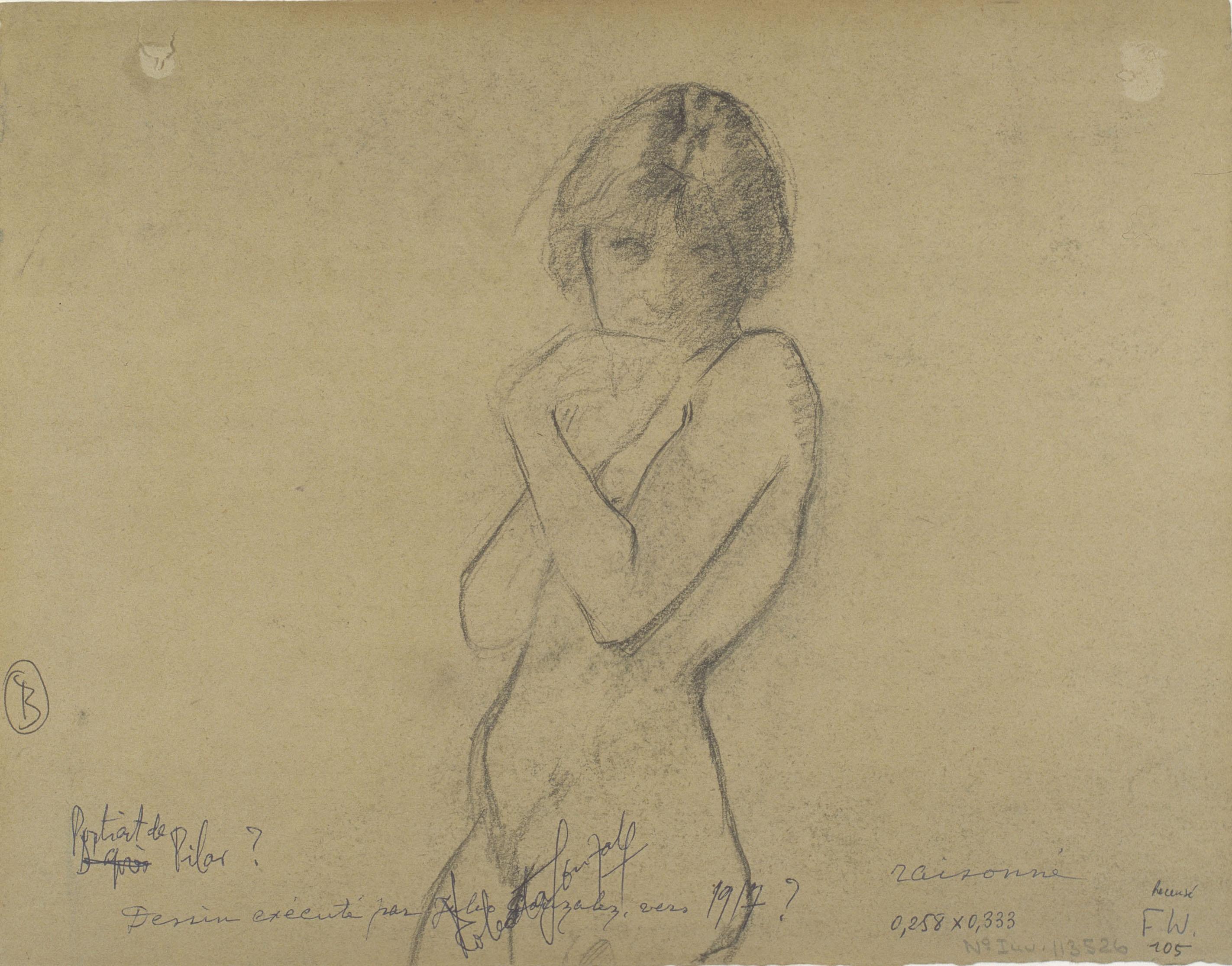 Juli González - Retrat de Pilar (Portrait de Pilar) (anvers). Nu femení (revers) - Cap a 1913-1918 [1]