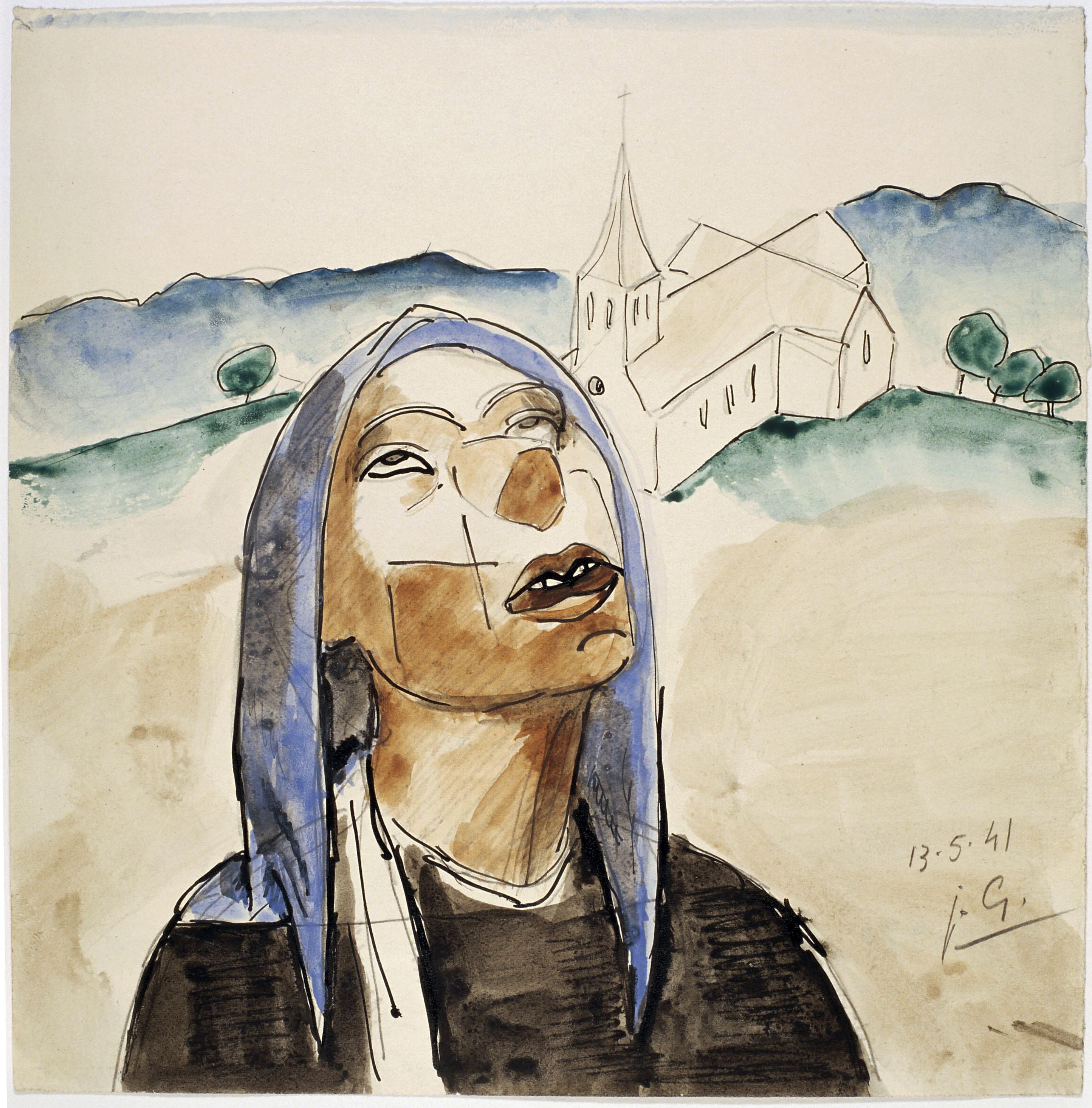 Juli González - Bust femení i campanar (Visage au clocher) - 1941