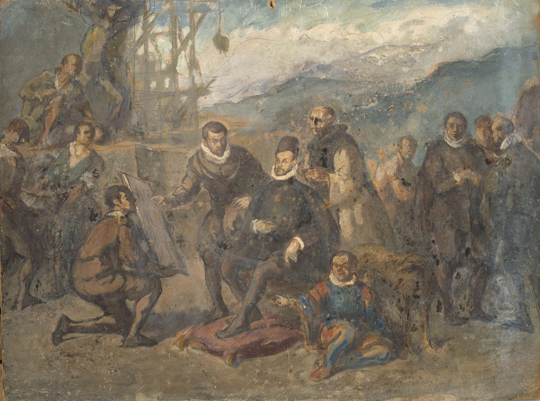 Ricard Canals - Felip II, assegut en una butaca i envoltat de cortesans, contempla els plànols del monestir de l'Escorial - Cap a 1929