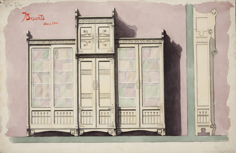 Joan Busquets - Llibreria, vista frontal i de perfil, per al senyor Roig i Bergada - 1901