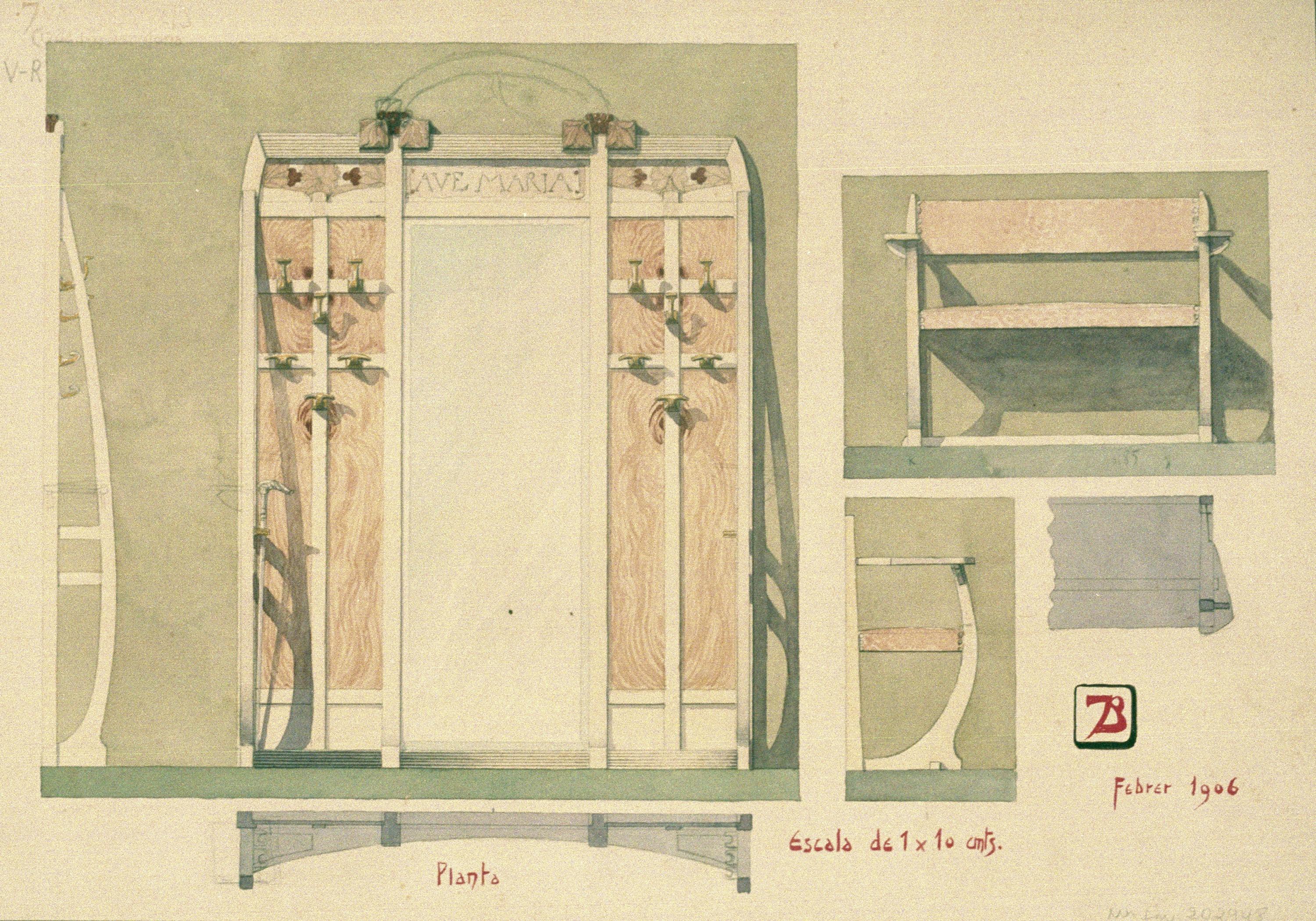 Joan Busquets - Penja-robes i banc - 1906