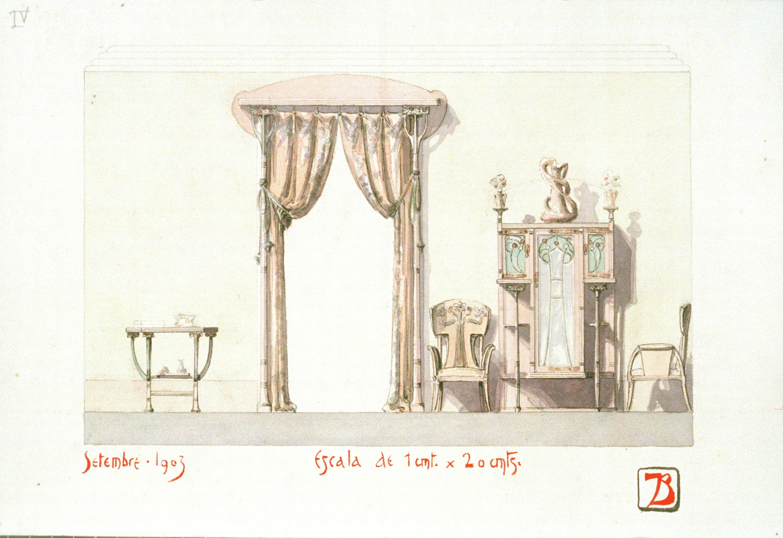 Joan Busquets - Mobiliari i cortinatge - 1903