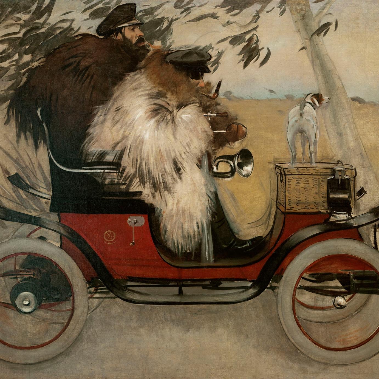 Ramon Casas i Pere Romeu en un automòbil