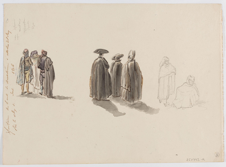 Adolphe Hedwige Alphonse Delamare - Font al camí de Sants a Molins de Rei (anvers) / Diversos apunts de personatges, tipus populars i religiosos (revers) - 1826 [1]