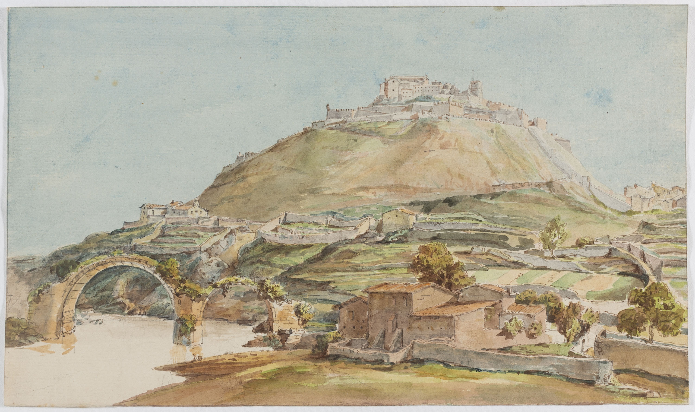 Adolphe Hedwige Alphonse Delamare - Vista de Cardona i del Pont del Diable - 4 d'abril de 1825