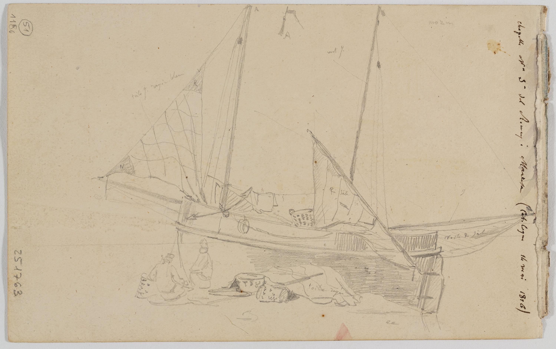Adolphe Hedwige Alphonse Delamare - Capella de la Mare de Déu del Remei a Manresa (anvers) / Pescadors feinejant a la platja (revers) - 14 de maig de 1826 [1]