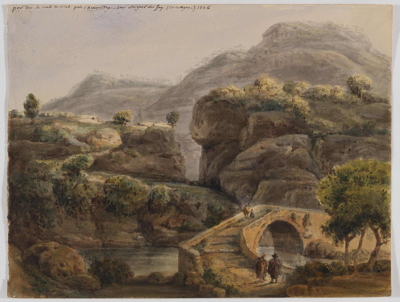 Adolphe Hedwige Alphonse Delamare - Pont sobre el riu Rossinyol a Sant Miquel del Fai - 1826