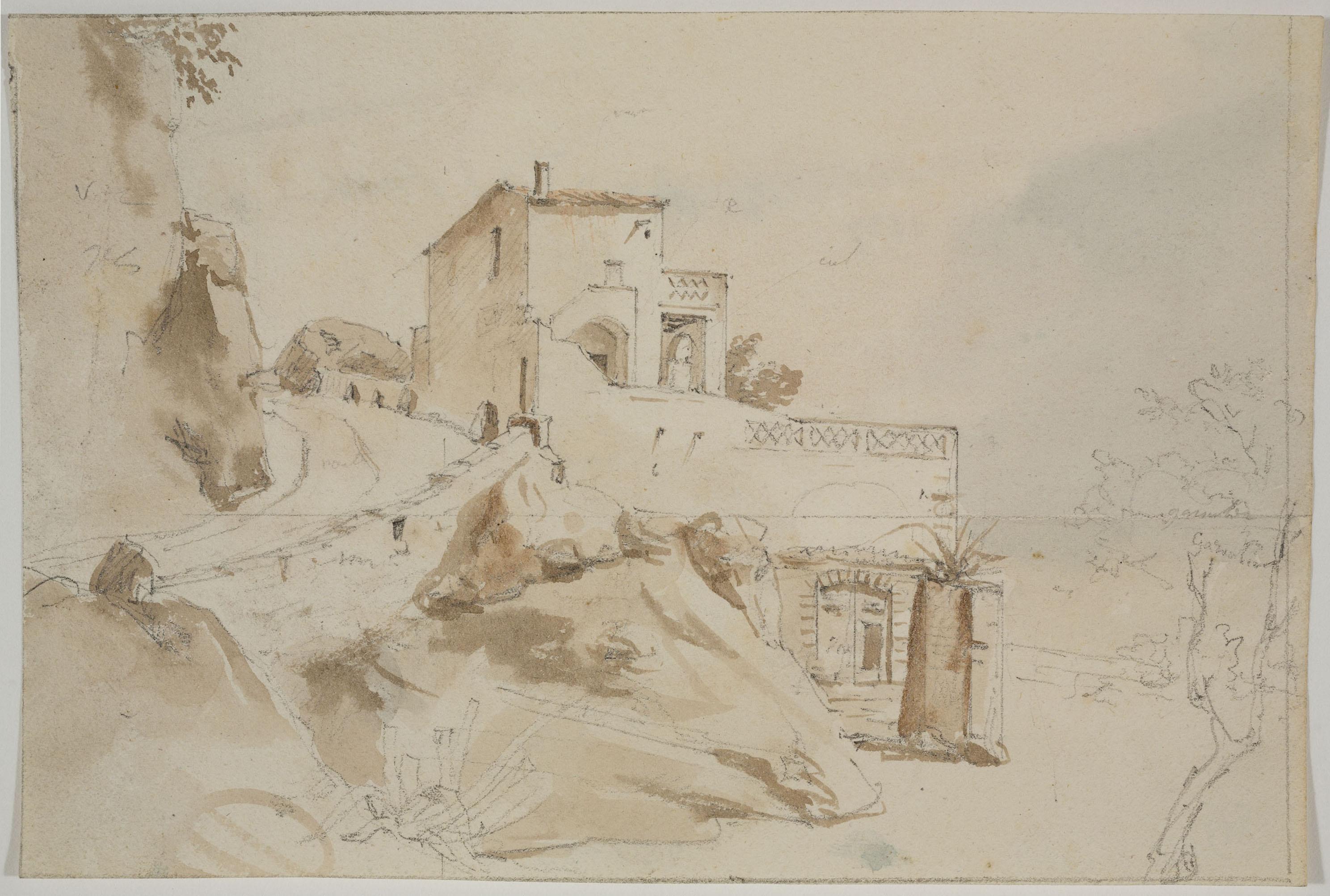 Adolphe Hedwige Alphonse Delamare - Arenys de Mar (anvers) / Apunt de paisatge (revers) - 28 de novembre de 1827