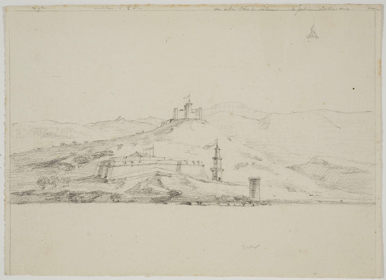 "Adolphe Hedwige Alphonse Delamare - ""Vue de la Baia de Palma"" i castell de Bellver - Cap a 1824-1827"
