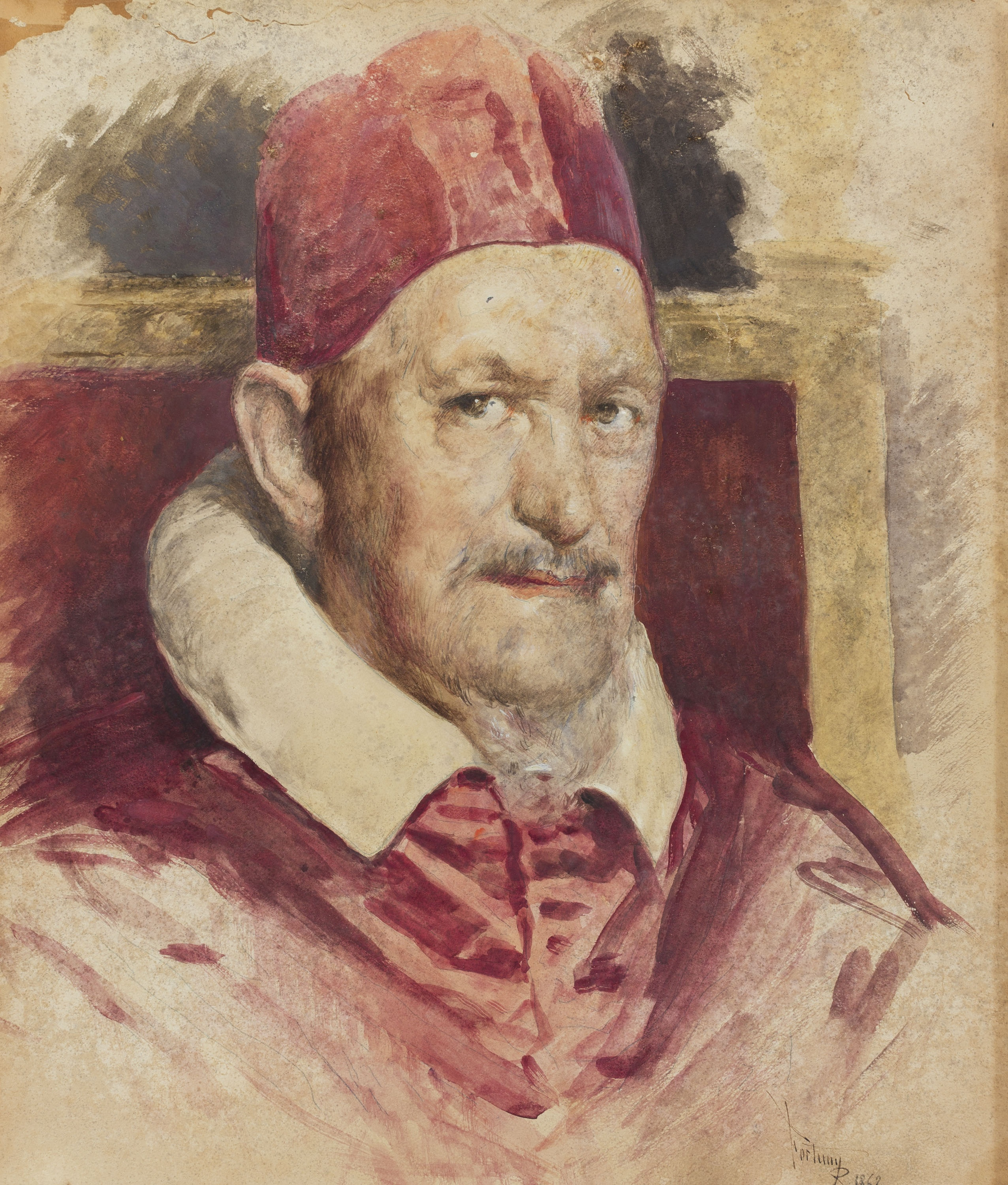 Marià Fortuny - Portrait of Innocent X (copy of Velázquez) - 1862