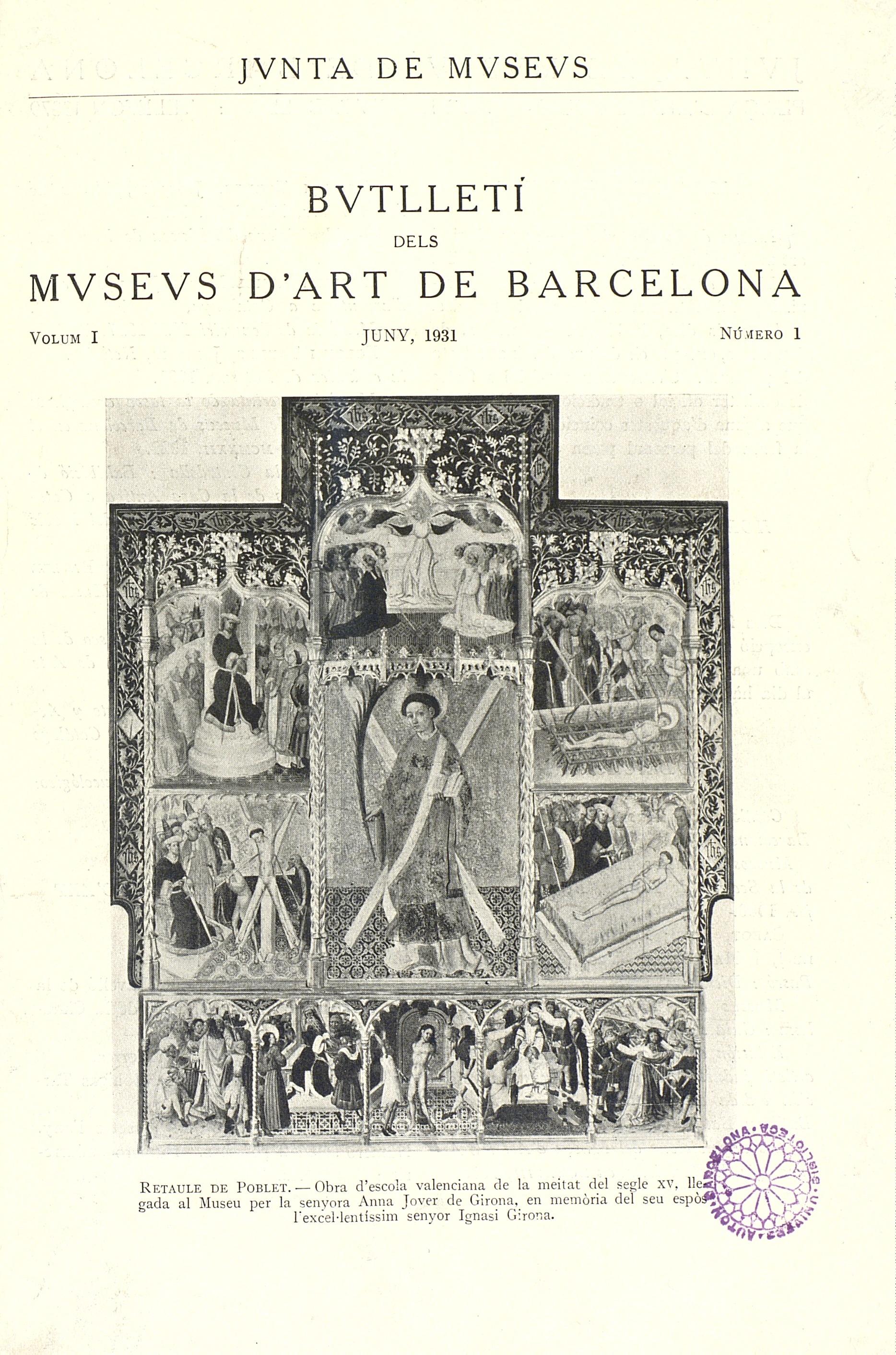 Vol. 1, núm. 1 (juny 1931)