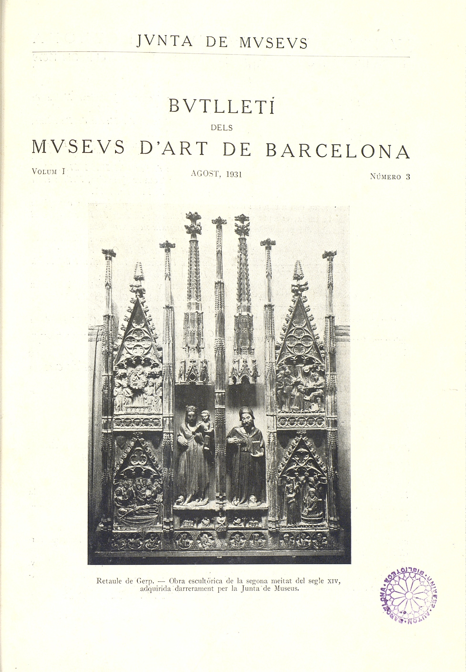 Vol. 1, núm. 3 (agost 1931)