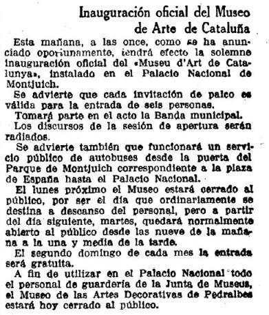 Inauguración oficial del Museo de Arte de Cataluña. La Vanguardia. 11/11/1934: 10.