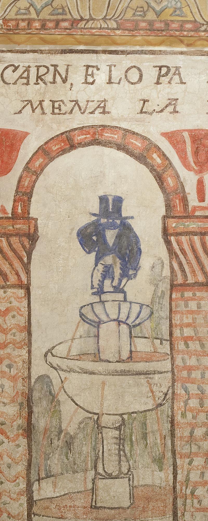 Museu Nacional d'Art de Catalunya | fragment de la decoració mural del celler de les Galeries Laietanes