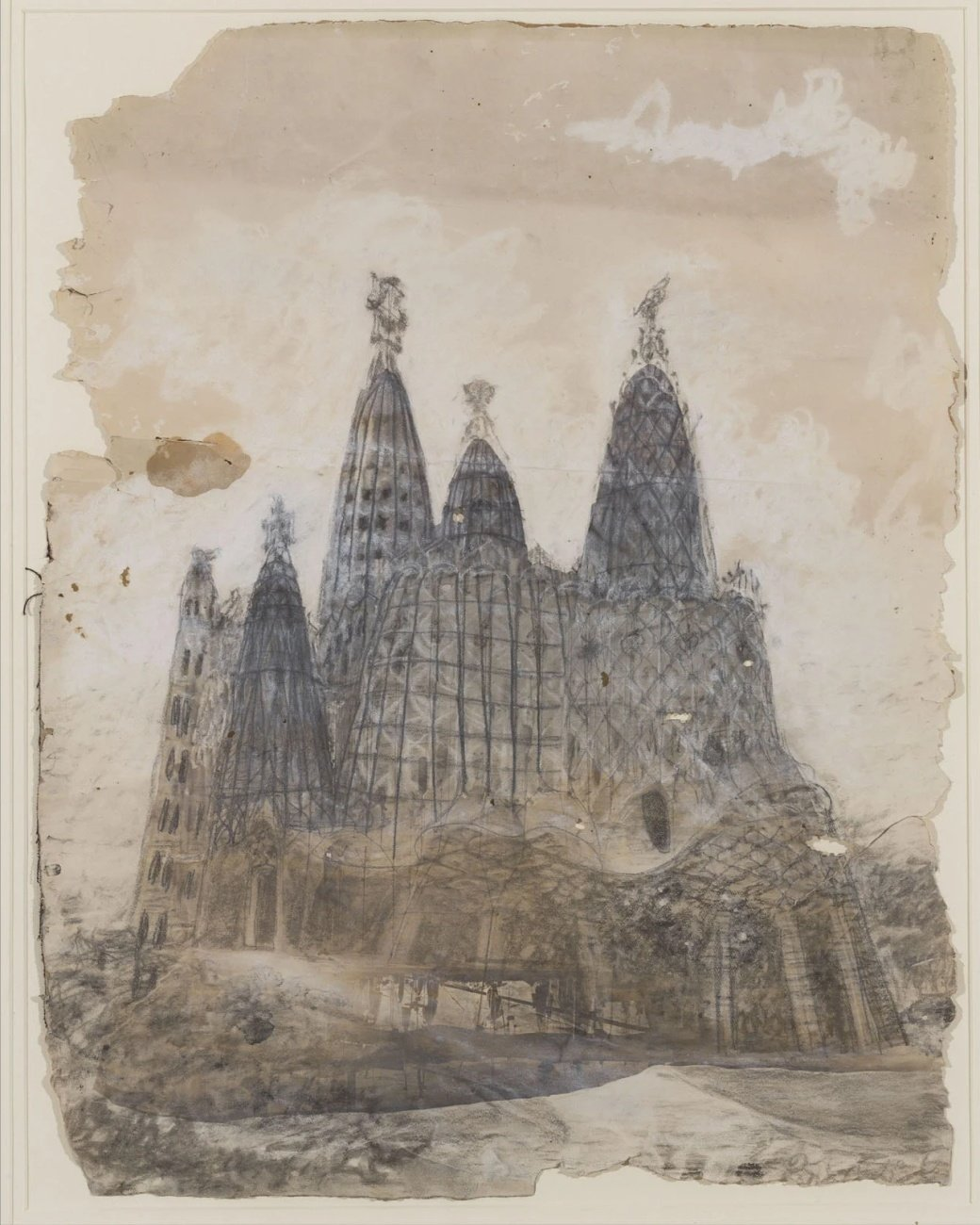 Vista exterior de l'església de la Colònia Güell, Antoni Gaudí, cap a 1908-1910.