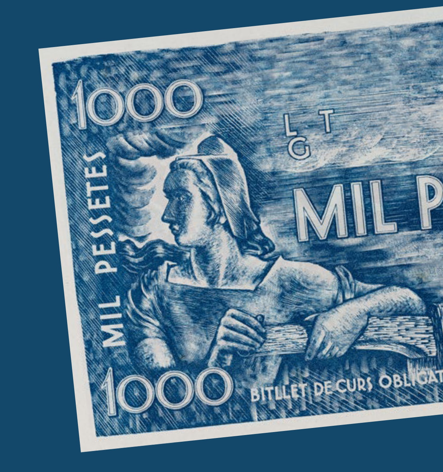 Josep Obiols. 1.000 pessetes, cap a 1936-1937. D.L.: B 22806-2019 Gabinet Numismàtic de Catalunya del Museu Nacional d'Art de Catalunya