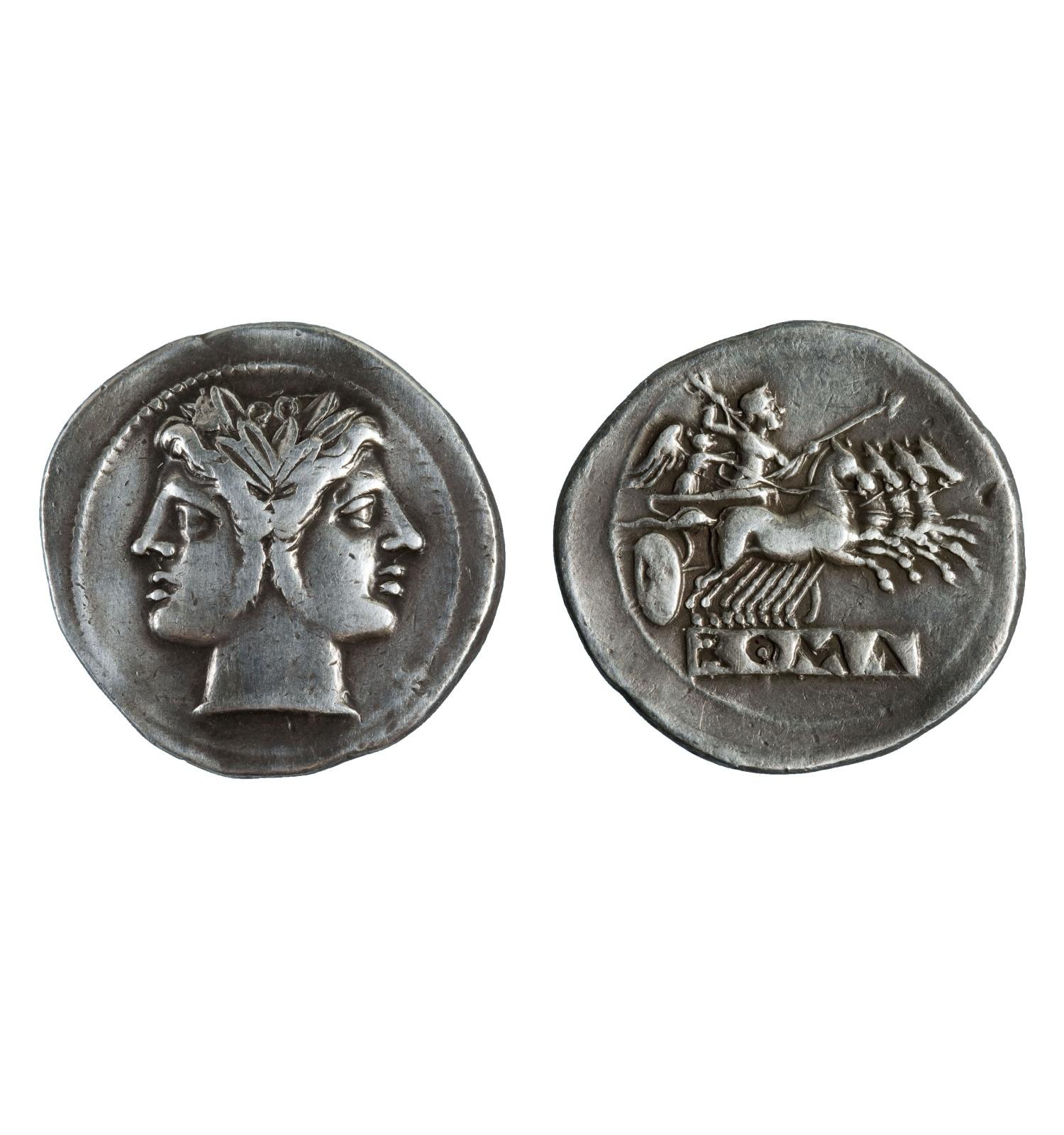 República romana, didracma de Roma, 225-212 a.C. Gabinet Numismàtic de Catalunya