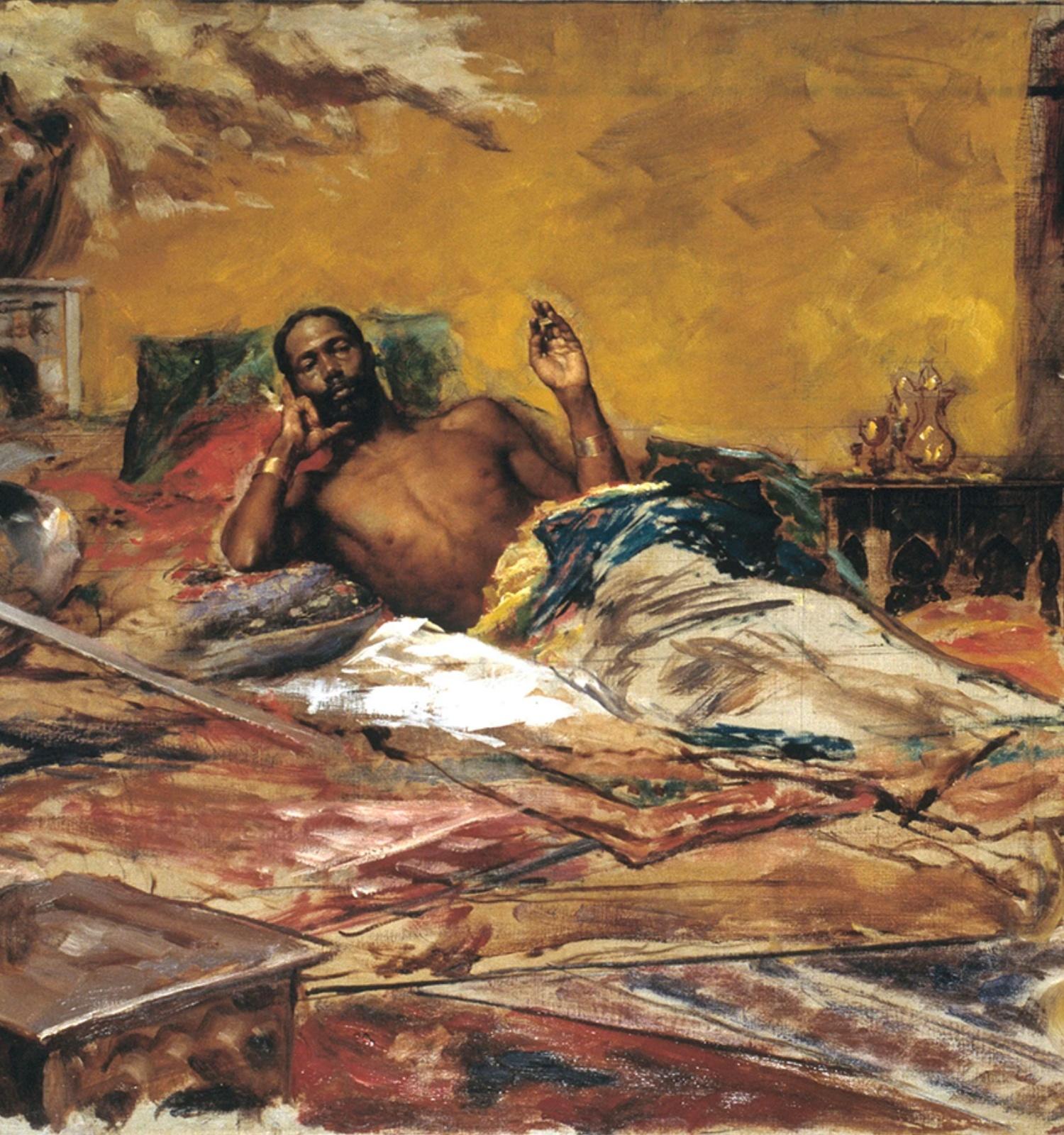 Repòs del guerrer (detall), Antoni Fabrés, 1878