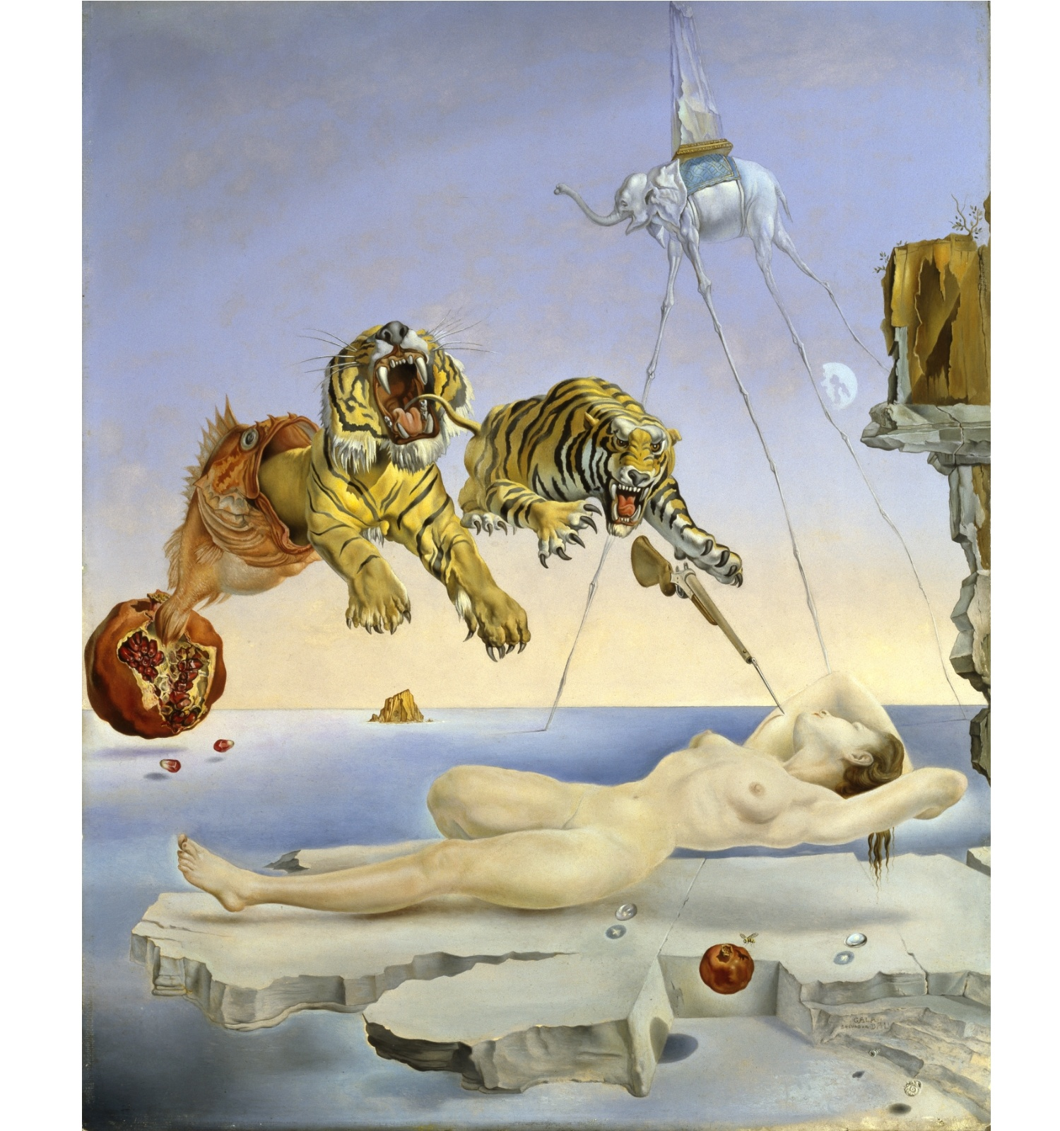 Salvador Dalí. Somni causat pel vol d'una abella al voltant d'una magrana un segon abans de despertar, c. 1944. Museo Nacional Thyssen-Bornemisza, Madrid. © Salvador Dalí, Fundació Gala-Salvador Dalí, VEGAP, Barcelona, 2018