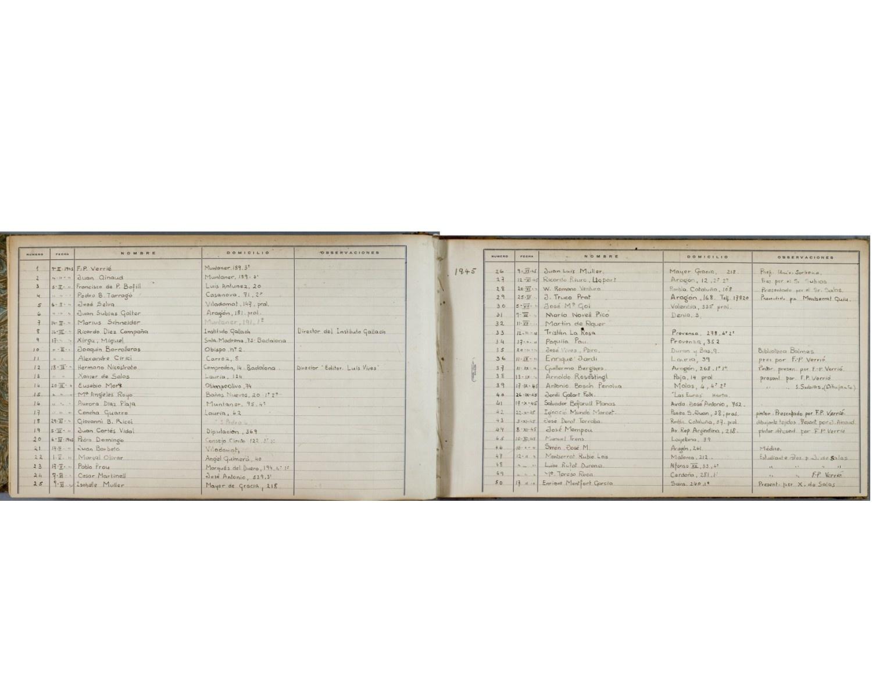Primers fulls del primer llibre de registre de lectors