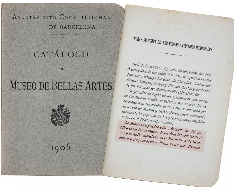1906 Catàleg del Museo de Bellas Artes de Barcelona