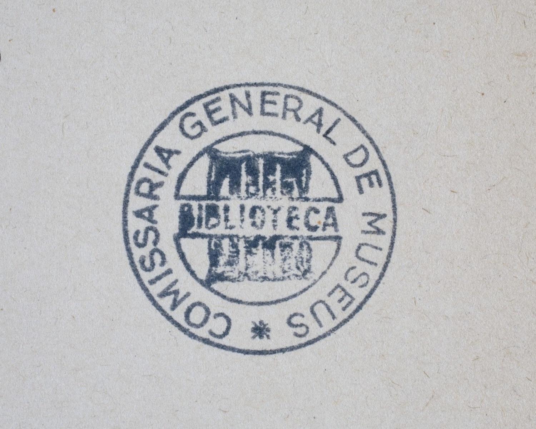 "Segell de la ""Biblioteca d'Art de la Comissaria de Museus"""