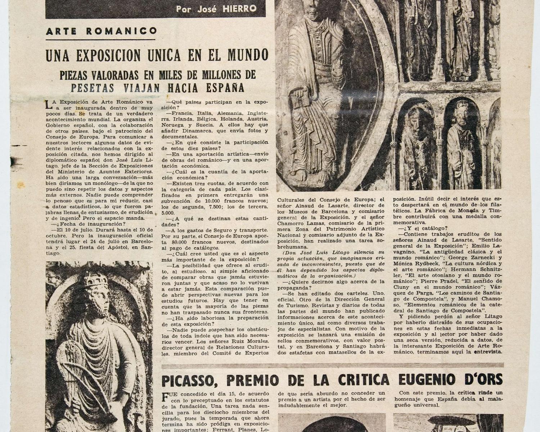 """José HIERRO, """"Una exposición única en el mundo: piezas valoradas en miles de millones de pesetas viajan hacia España"""", El Alcázar, Madrid, 20 de juny de 1961"""