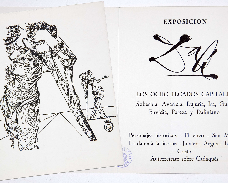 Dalí: exposición Los Ocho pecados capitales: soberbia, avaricia, lujuria, ira, gula, envidia, pereza y daliniano...: Ianua ... Barcelona, 16 noviembre al 7 diciembre de 1967