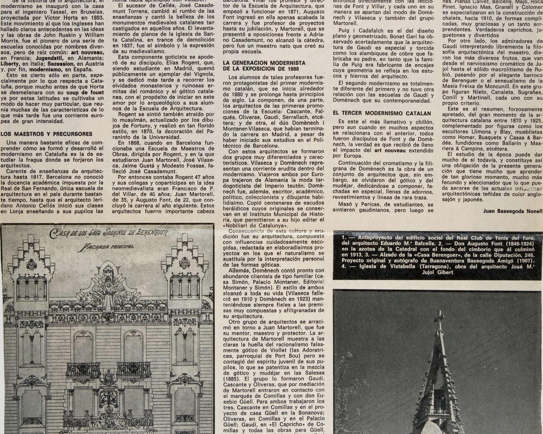 """Joan BASSEGODA NONELL, """"El, o los modernismos: facetas y matices de un estilo"""", La Vanguardia española, Barcelona, 5 desembre 1971"""