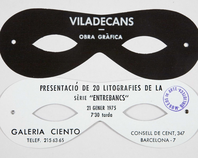 """Viladecans: obra gràfica: Galeria Ciento...: presentació de 20 litografies de la sèrie """"entrebancs"""": 21 gener 1975, 7,30 tarda... [Barcelona]. [s.l.: s.n., 1975]"""