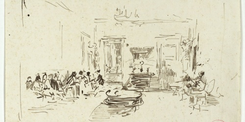 Marià Fortuny - Preliminary drawing of the serenade to Fortuny at Villa Arata by pupils of the Naples Academy - Circa 1874