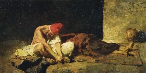 Anònim - Còpia del gravat «Àrab vetllant el cadàver del seu amic» de Marià Fortuny - Últim quart del segle XIX [?]