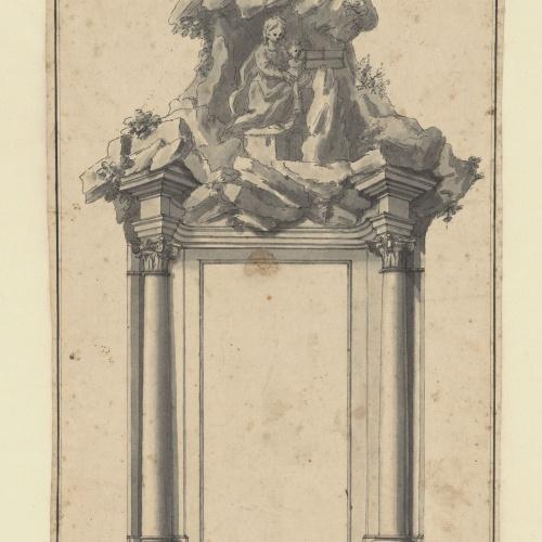 Tomasso de Marchis - Croquis de la porta i sobreporta de l'església de Montserrat a Roma - 1726