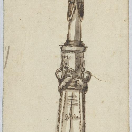 Damià Campeny - Projecte de candeler amb esfinxs i amorets - Cap a 1804-1806