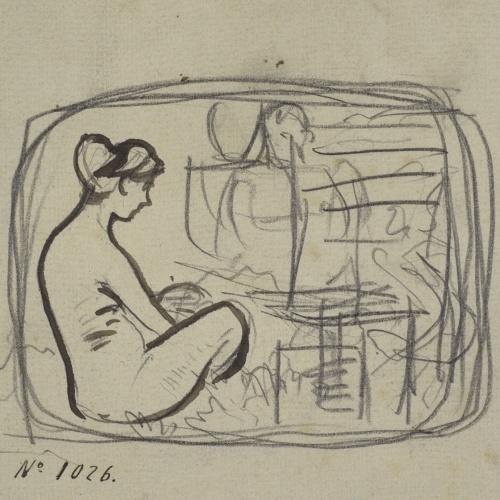 Ramon Casas - Rough sketch of a female nude - Circa 1890-1900