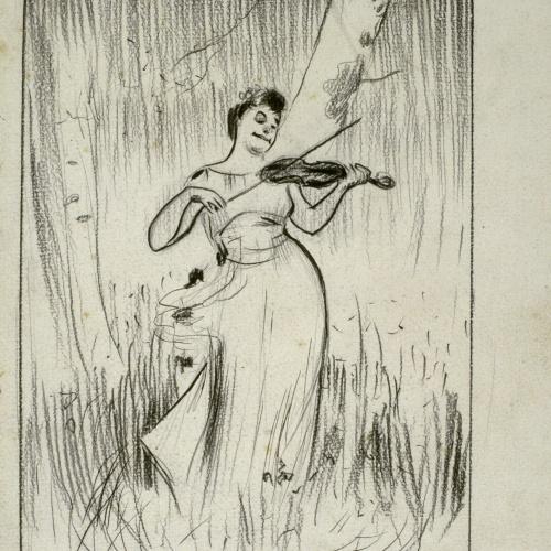 Ramon Casas - Caricature of Josep Maria Tamburini's picture 'Woodland Harmonies' - Circa 1896