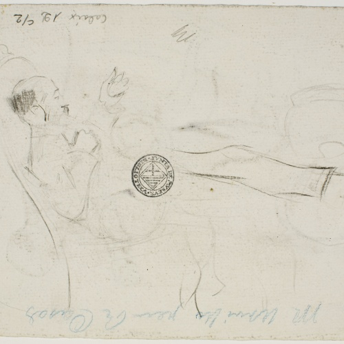 Ramon Casas - Miquel Utrillo descansant (anvers) / Apunt de Miquel Utrillo descansant (revers) - Cap a 1898 [1]