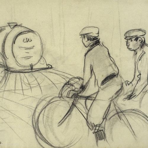 Ramon Casas - Watering Cart and Cyclists - Circa 1890-1900