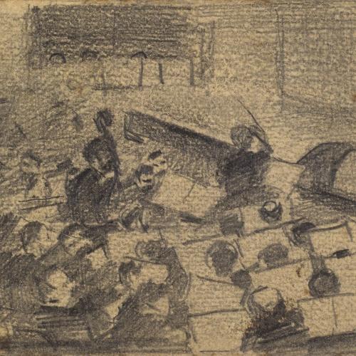 Ramon Casas - Sketch of a theatre orchestra - Circa 1890-1900