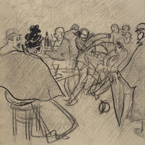 Ramon Casas - Fight in a café - Circa 1890-1900