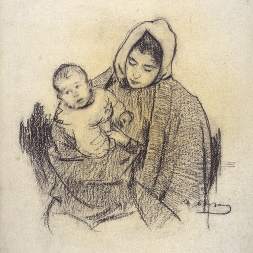 Ramon Casas - Woman and child - Circa 1890-1900