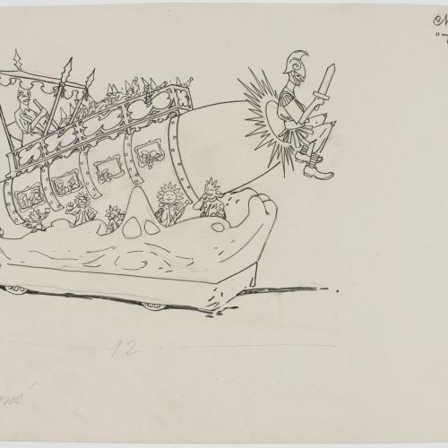 Francesc Xavier Gosé - Carnival of Nice. Char 'De la terre á Mars' - Circa 1904
