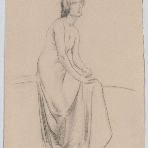 Josep Llimona - Estudi per a l'escultura funerària «Resignació» (panteó Ciuró, Granollers) - Cap a 1902