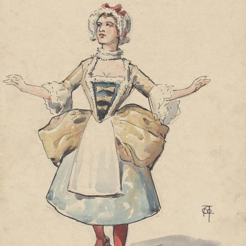 Apel·les Mestres - Colombina (design for a costume of theater)  - Circa 1906