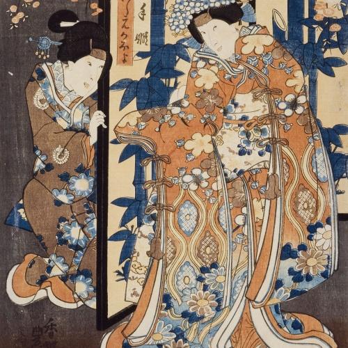 Utagawa Kunisada (Toyokuni III) - Terutehime and Koshimoto Kaoyo - 1847-1848