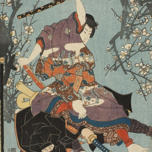 Utagawa Kunisada (Toyokuni III) - The Second Month (Kisaragi). Annual Events for Young Murasaki (Wakamurasaki nenjû gyôji no uchi) - Circa 1849-1850