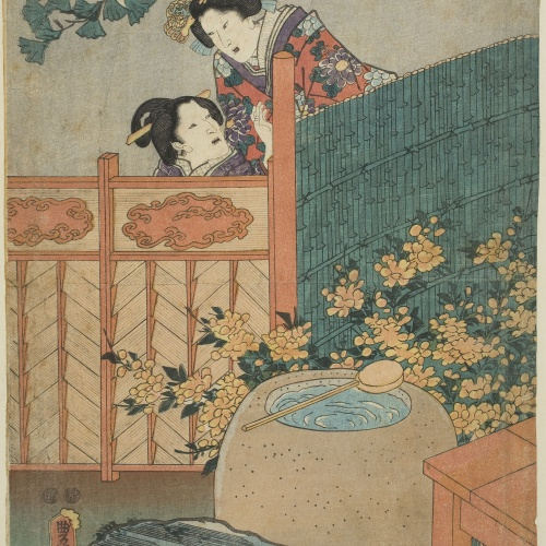 Utagawa Kunisada (Toyokuni III) - Mother and Daughter. Figures in Edo Purple. The Broom Tree Chapter (Edo Murasaki sugata no Hahakigi) - Circa 1847-1852