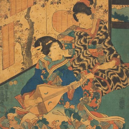 Utagawa Kunisada (Toyokuni III) - Dues cortesanes del tríptic «Escena de concert d'Inaka Genji (Yasasugata Azuma no utsushi-e)» - 1849-1853