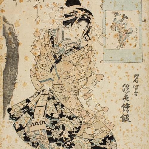 Utagawa Kunisada (Toyokuni III) - Ukiyo Matabei (Meihitsu ukiyo-e kagami) - 1820