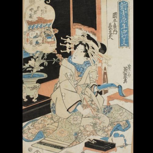 Llanternes per a la festa de les estrelles (Tanabata, Yoshiwara),  Keisai Eisen, cap a 1825-1830